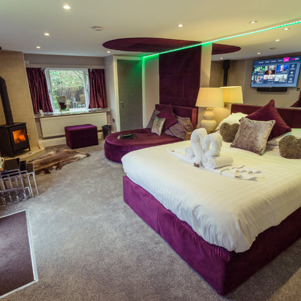 Love Shack Cabin and Hot Tub, Red Rose Suite & Hot Tub, Aphrodites Boutique Spa Suites and hot tub spa breaks in Bowness on Windermere within the Lake District.