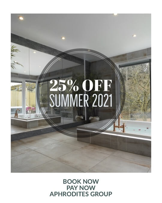 25% off all bookings from 1st June 2021 at Aphrodites Group
